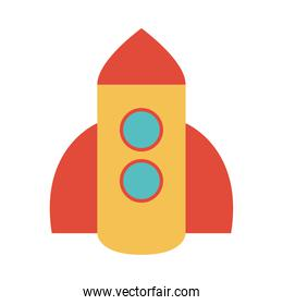 plastic rocket toy object for small children to play, flat style cartoon
