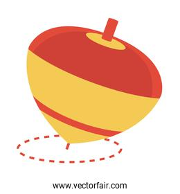 spinning top toy object for small children to play, flat style cartoon