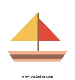 sailboat toy object for small children to play, flat style cartoon