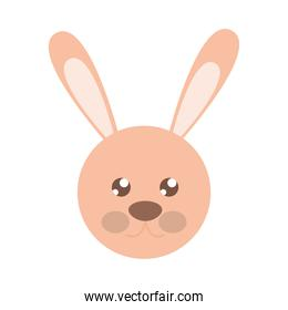 rabbit face toy object for small children to play, flat style cartoon
