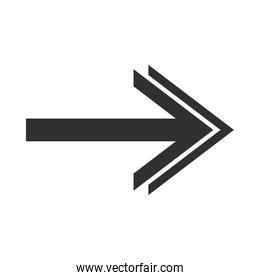 arrow direction related icon, right pointed orientation double head silhouette style