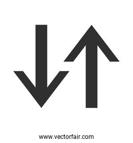 arrow direction related icon, arrows point two sides silhouette style