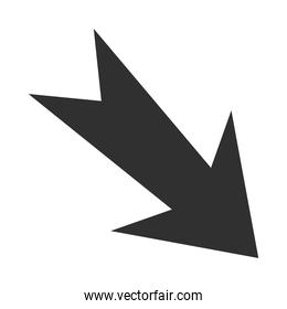 arrow direction related icon, down variation silhouette style