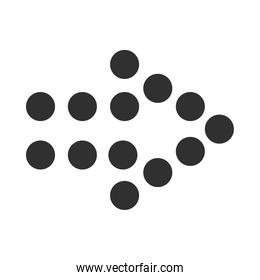 dotted arrow pointing right side silhouette style icon