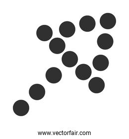 dotted arrow upload growth direction silhouette style icon