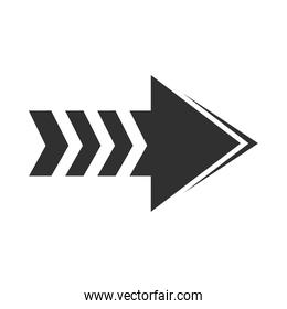 arrow direction related icon, right pointed orientation silhouette style