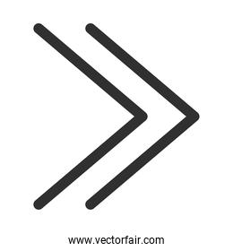 double right arrows direction forward button silhouette style icon