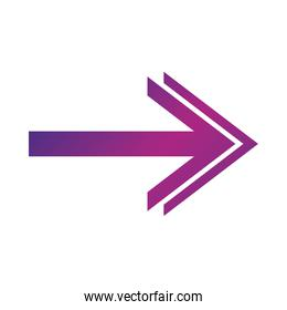 arrow direction related icon, right pointed orientation double head gradient style