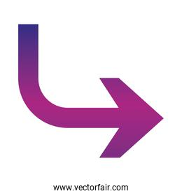 arrow indicates the direction curved gradient style icon