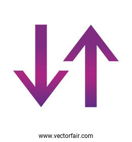arrow direction related icon, arrows point two sides gradient style