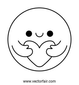 Circle cartoon with arms hugging heart line style icon vector design