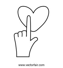 Hand touching heart line style icon vector design