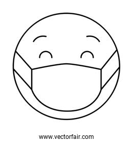 emoticon with medical mask linear style icon