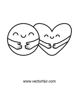 Heart and circle with arms cartoons line style icon vector design