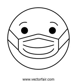 emoticon with medical mask line style icon vector design