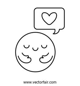 Circle cartoon with arms and heart inside bubble line style icon vector design