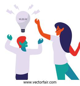 couple work with successful idea woman