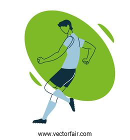 Soccer player man with uniform in aerodynamic position vector design