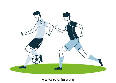 Soccer players men with ball vector design