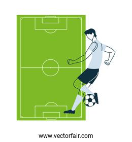 Soccer player man with ball and court vector design