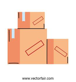 Isolated delivery boxes vector design