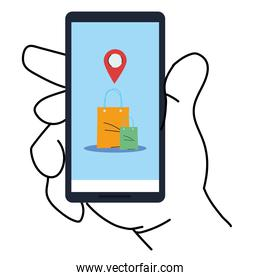 hand holding smartphone with bags and gps mark vector design