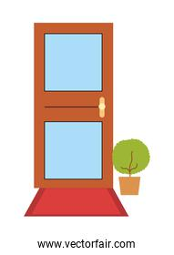 Isolated house door with plant inside pot vector design