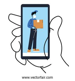 Hand holding smartphone with delivery man and box vector design