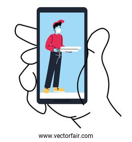 Hand holding smartphone with delivery man and pizza box vector design