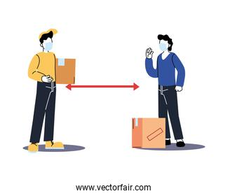 social distancing between delivery man and client with mask and boxes vector design
