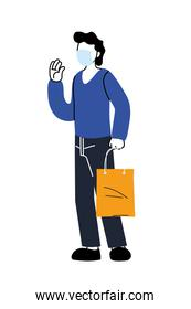 Delivery man with mask and shopping bag vector design