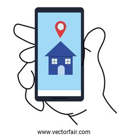 Hand holding smartphone with house and gps mark vector design