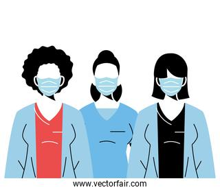professional medical women wearing face masks