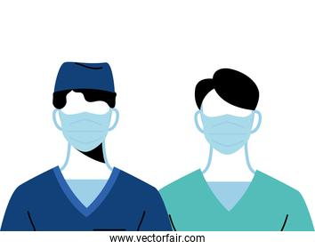 Young professional doctors wearing face masks