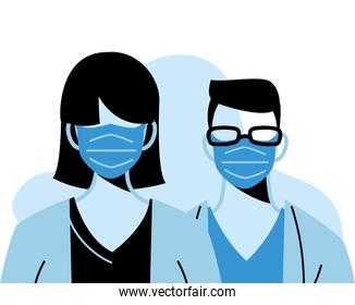 professional doctors wearing face masks