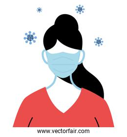 professional medical woman wearing face mask to avoid coronavirus