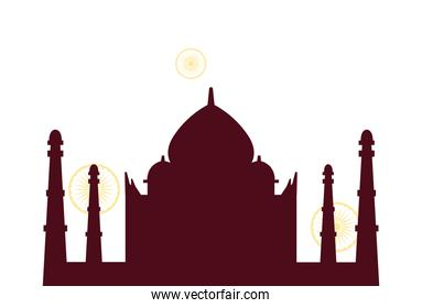 silhouettes famous monuments of india