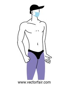 man with mask and in swimsuit in summer