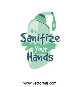 sanitize your hands, disinfectant bottle with spray