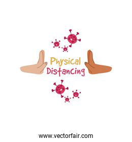 symbol of caution, physical distancing