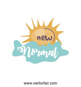 new normal sign, lettering about new normal