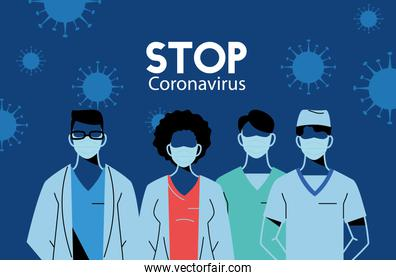 medical team and nurses working to stop the coronavirus