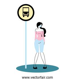 woman with mask on bus stop
