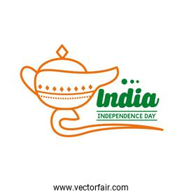Independece day india celebration with magic lamp line style icon