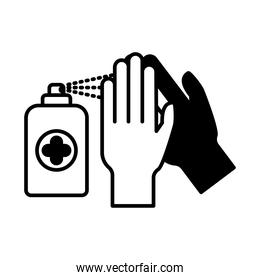 hands with soap spray lineal style icon vector design