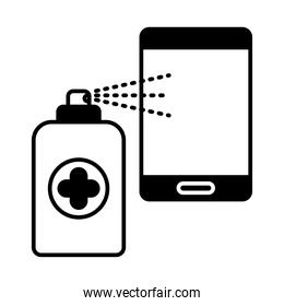 spray bottle with smartphone lineal style icon vector design