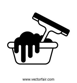 bucket and window cleaner lineal style icon vector design