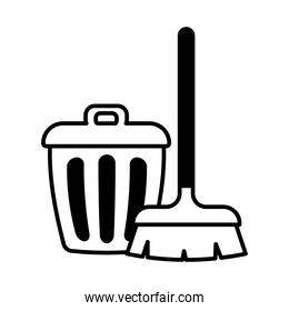 brush and trash lineal style icon vector design