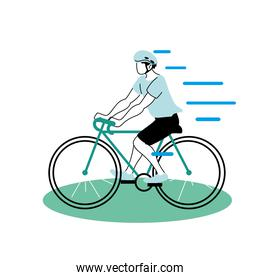 man on bicycle and protective gear