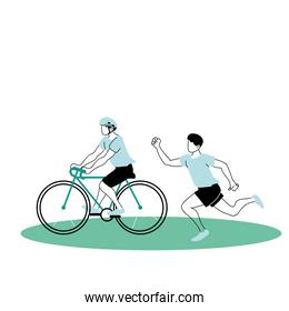 young men playing sports games in park isolated icon
